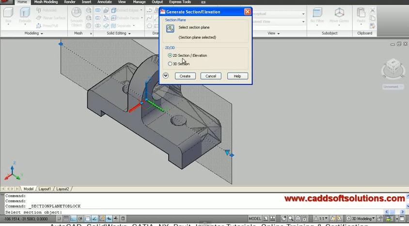 Autocad 3d Section Plane Graphic Cad Draiwng