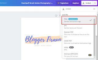 Mengunduh file hasil desain di Canva dengan format PNG