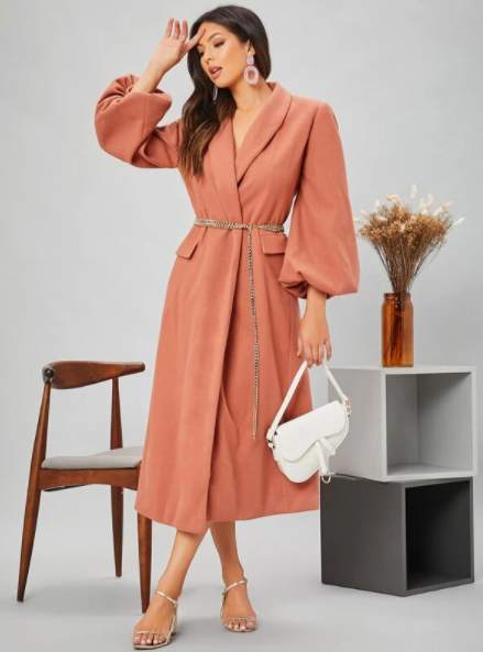 Dusty Pink Lantern Sleeves Coat with Chain Belt