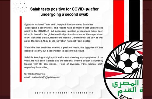 Bintang Liverpool, Mohamed Salah Positif Terpapar Covid-19