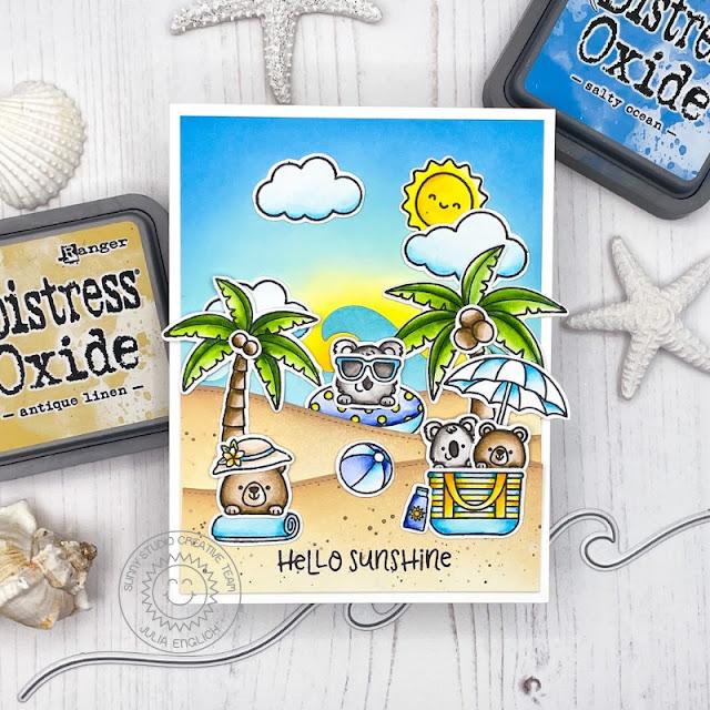 Sunny Studio Stamps: Beach Buddies Beach Babies Seasonal Trees Sending Sunshine Summer Themed Card by Julia Englich