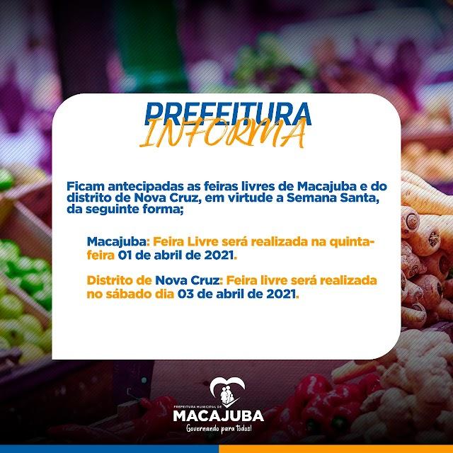 Prefeitura Macajuba antecipa feira-livre em virtude a Semana Santa