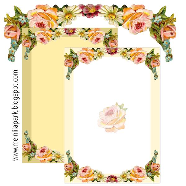 Free printable vintage flower stationery - ausdruckbares Briefpapier
