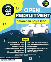 Open Recruitment at Salon Poles Mobil Surabaya Februari 2021