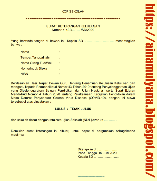 Contoh Surat Keterangan Kelulusan (Surat Pengumuman Kelulusan) siswa SD (MI) Tahun 2020
