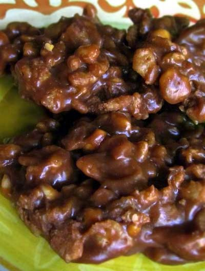 No Bake Chocolate Cookies with Peanut Butter & Rice Krispies