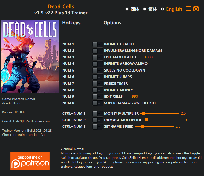 Dead Cells: Trainer (+13) [1.9 - 22]