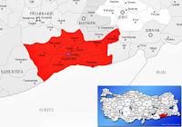 Mardin ili ve ilçeleriyle birlikte çevre il ve ilçeleri de gösteren harita