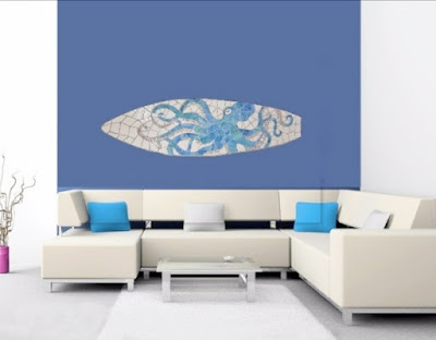 mosaic surfboard art octopus
