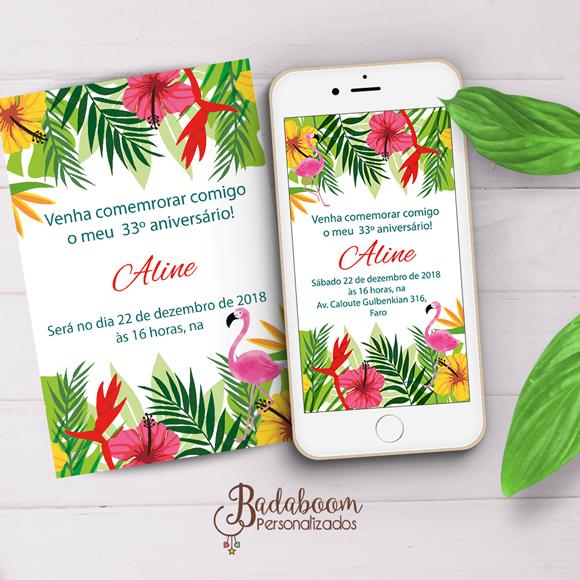 flamingo, convite, digital, arte, personalizada, festa, adulto, tropical, temática, whatsapp, impressão