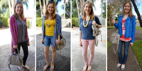bold colourful outfits with grey neutral handbag | Away From Blue Blog