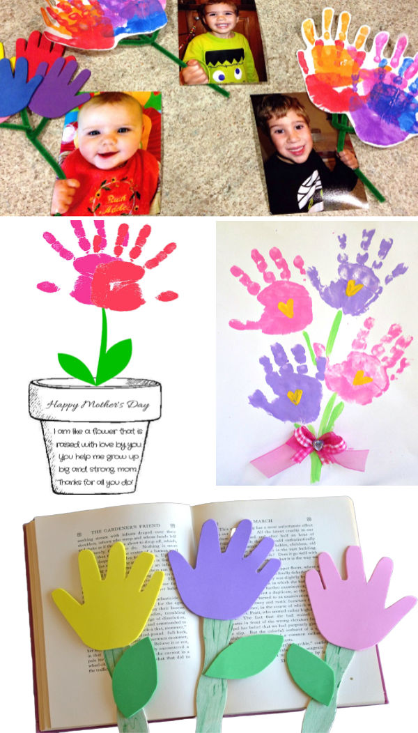 Spring flower crafts for kids to make using their hand-prints. #handprintart #handprintflowers #springcrafts #flowercraftsforkids #springflowers #growingajeweledrose
