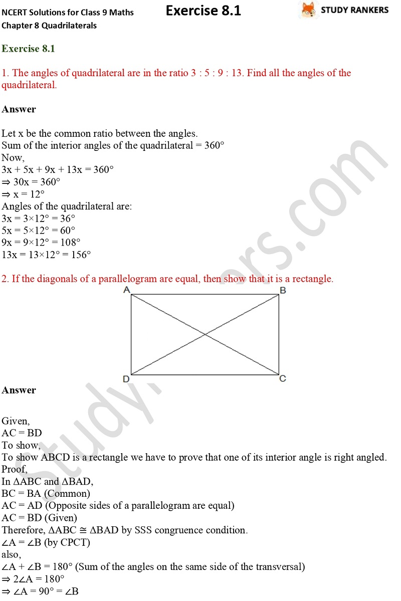 .NCERT Solutions for Class 9 Maths Chapter 8 Quadrilaterals Exercise 8.1 Part 1