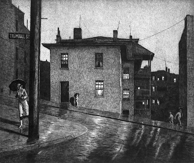 a Martin Lewis 1934 print of rainy wet city streets at night