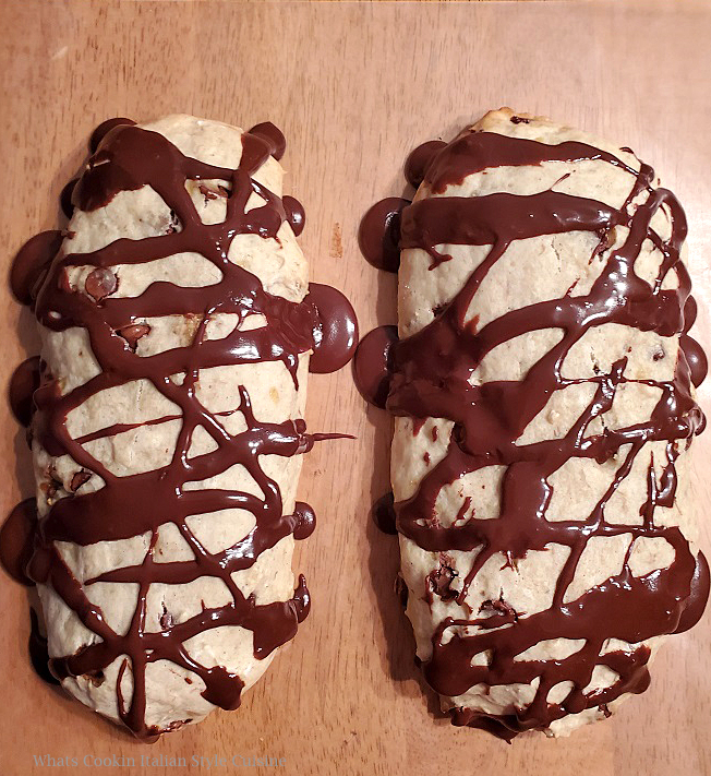 banana biscotti drizzled with chocolate icing
