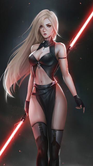 Papel de Parede Guerreira Jedi Lado Negro da Força