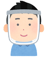 フェイスシールドをつけた人のイラスト(アジア人男性)