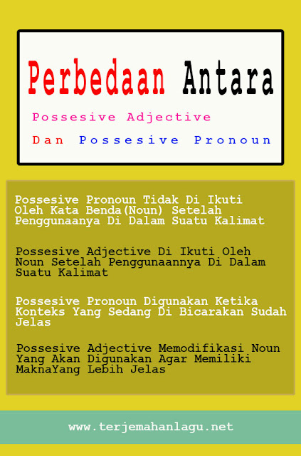 Perbedaan Antara Possesive Prnoun Dan Possesive Adjective Beserta Contoh Kalimatnya