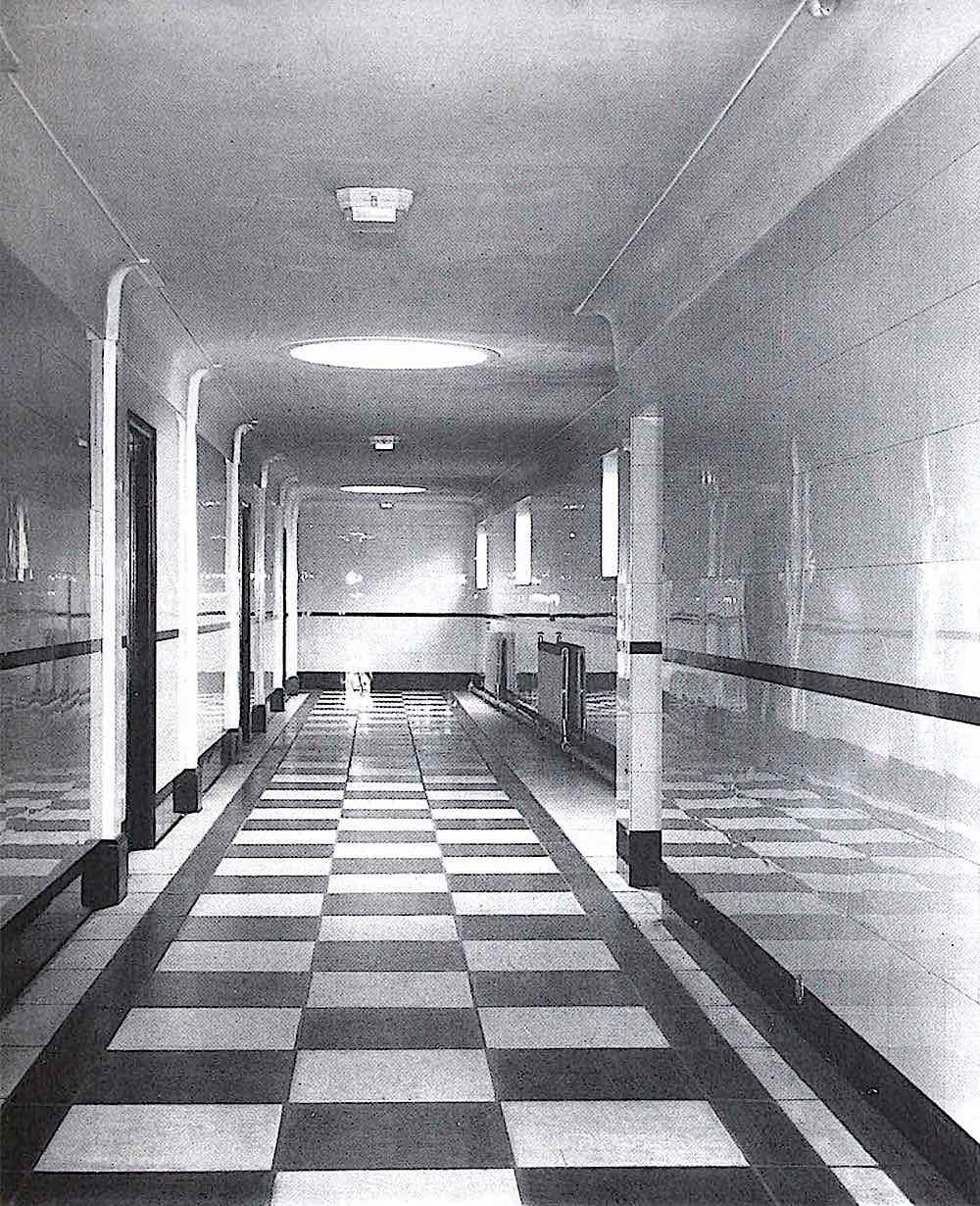 Vitrolite tiles in a 1930s office, reverberate