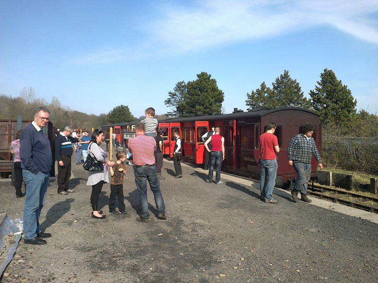 Passengers at East Tanfield station