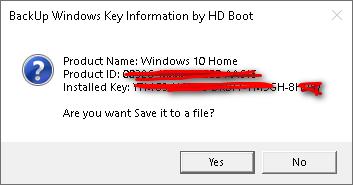BackUp Windows Key Information by HD Boot