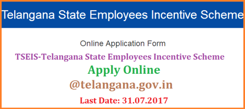 TSEIS Telangana State Employees Incentive Scheme Guidelines-Online Application Form @www.telangana.gov.in The Government of Telangana has decided to introduce Incentive Scheme for Telangana Government Employees as a recognition to the outstanding work done by them. The Incentive Scheme is open to regular government employees who draw a salary from the treasury and belong to any of Class IV to Class I / Group I categories working at different levels starting Gram Panchayat to State offices. There will be one incentive for each of the four categories of employees for each district taking the total number to 124. Additionally, eight more employees will be selected at State level– four in the Heads of Departments and four in Secretariat. All the 132 selected employees will get an entry of appreciation in the service record, one increment for one year and a letter of commendation. Out of the 132 employees, twelve best will be selected i.e. three employees under each of the four categories. The top three employees in each of the four categories will be given a cash incentive of Rs. 5 lakh, Rs 3 lakh and Rs 2 lakh in that order. tseis-telangana-state-employees-incentive-scheme-online-aaplication-form