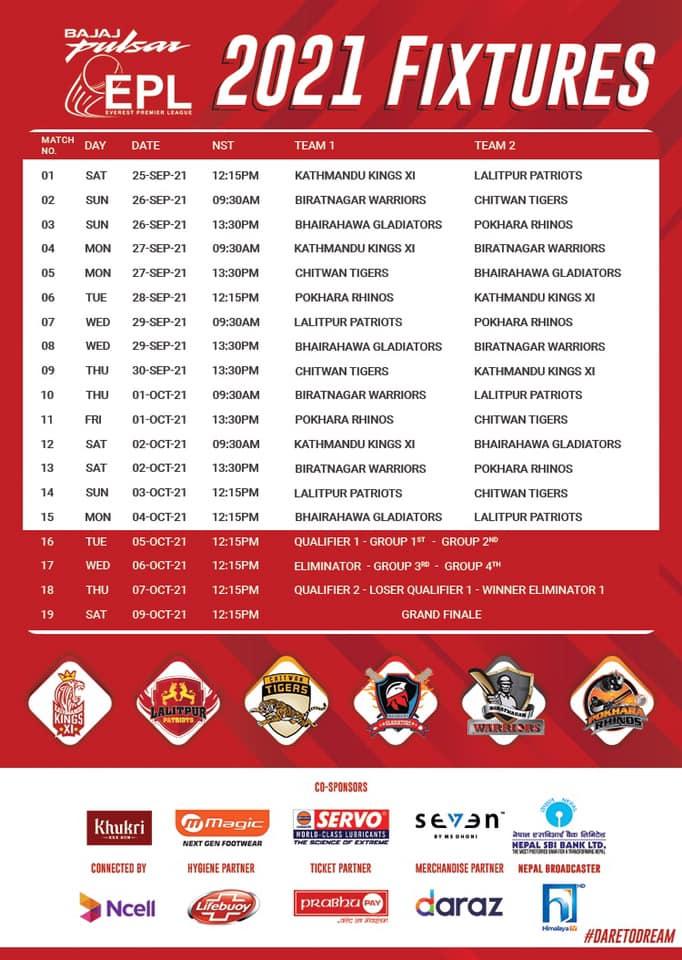 Everest Premier League 2021 Fixtures
