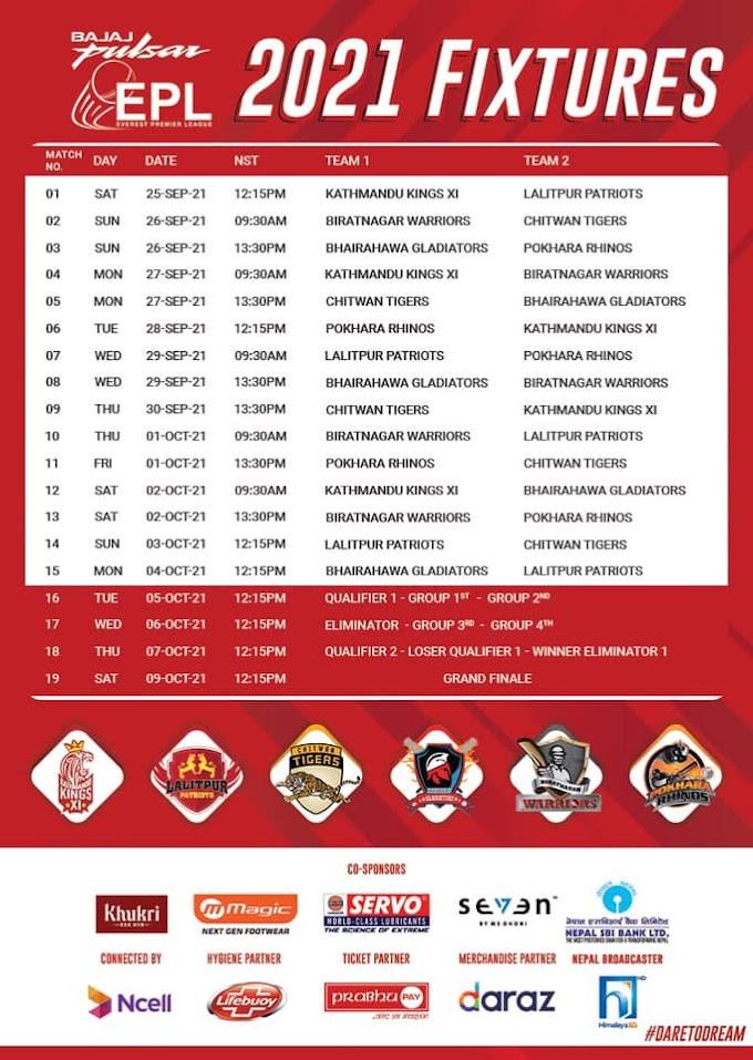 Everest Premier League 2021 Fixtures, Live Stream