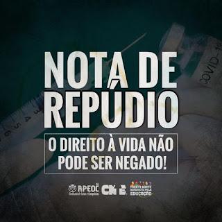 NOTA DE REPÚDIO: O DIREITO À VIDA NÃO PODE SER NEGADO!
