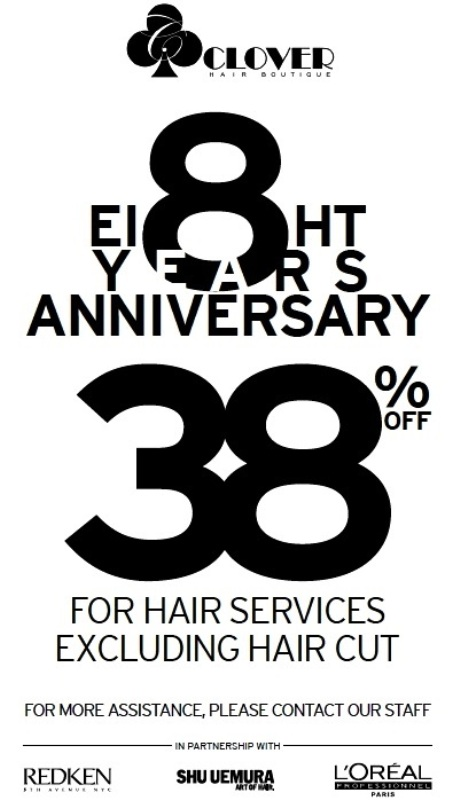 clover hair boutique anniversary promotion