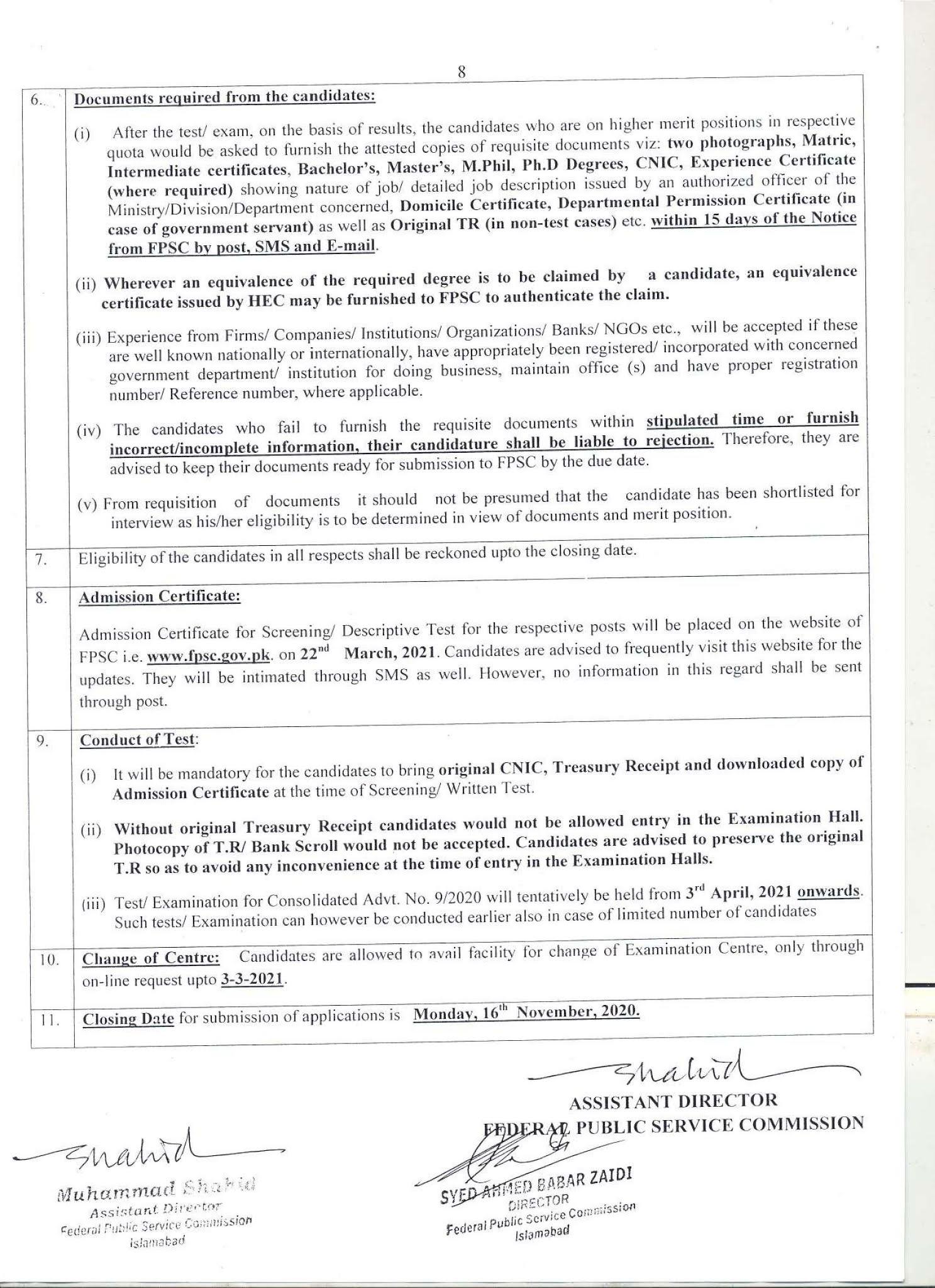 Federal Public Service Commission FPSC Advertisement No 09 Jobs