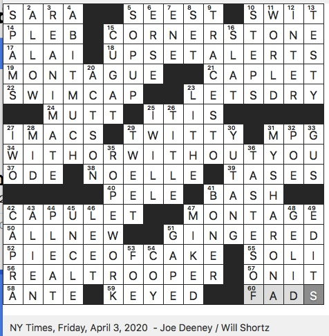 Rex Parker Does The Nyt Crossword Puzzle Bandleader Xavier Fri 4 3 20 System Of Modified Spellings Used On The Internet Some Phone Notifications During March Madness Like Nfl Referees Since 1975