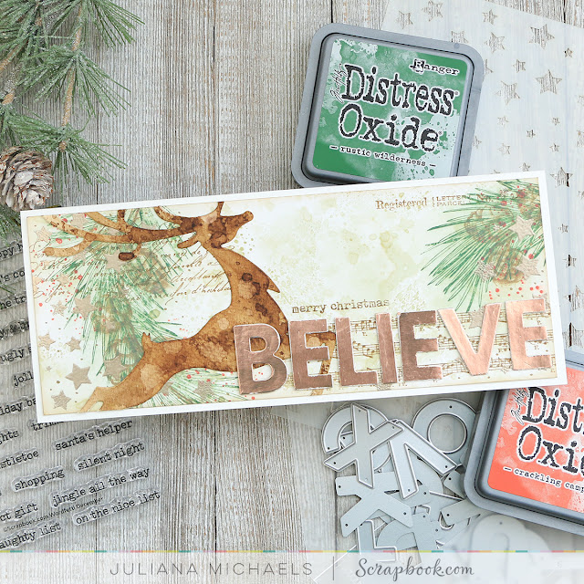 Believe Slimline Christmas Card by Juliana Michaels