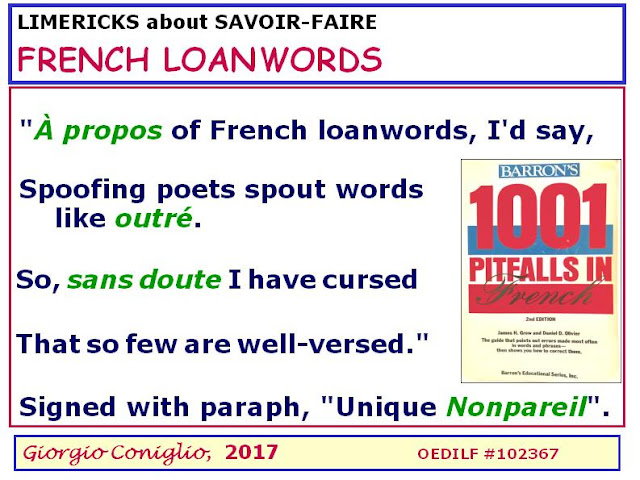 limerick; French loanwords; idioms; pronunciation; Giorgio Coniglio