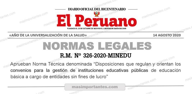 R.M. Nº 326-2020-MINEDU