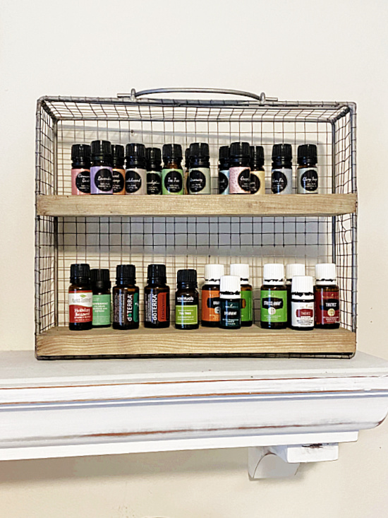 essential oil shelf filled with bottles