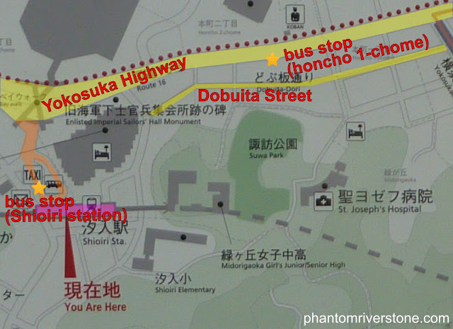 The relative locations of Dobuita Street, the Honcho 1-chome bus stop on the main road, and Shioiri station.