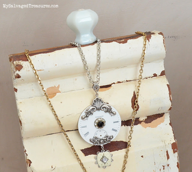 chippy salvaged necklace display repurposed DIY