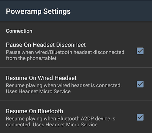 Resume Playback When Wired Headset is Inserted for Poweramp Music Player