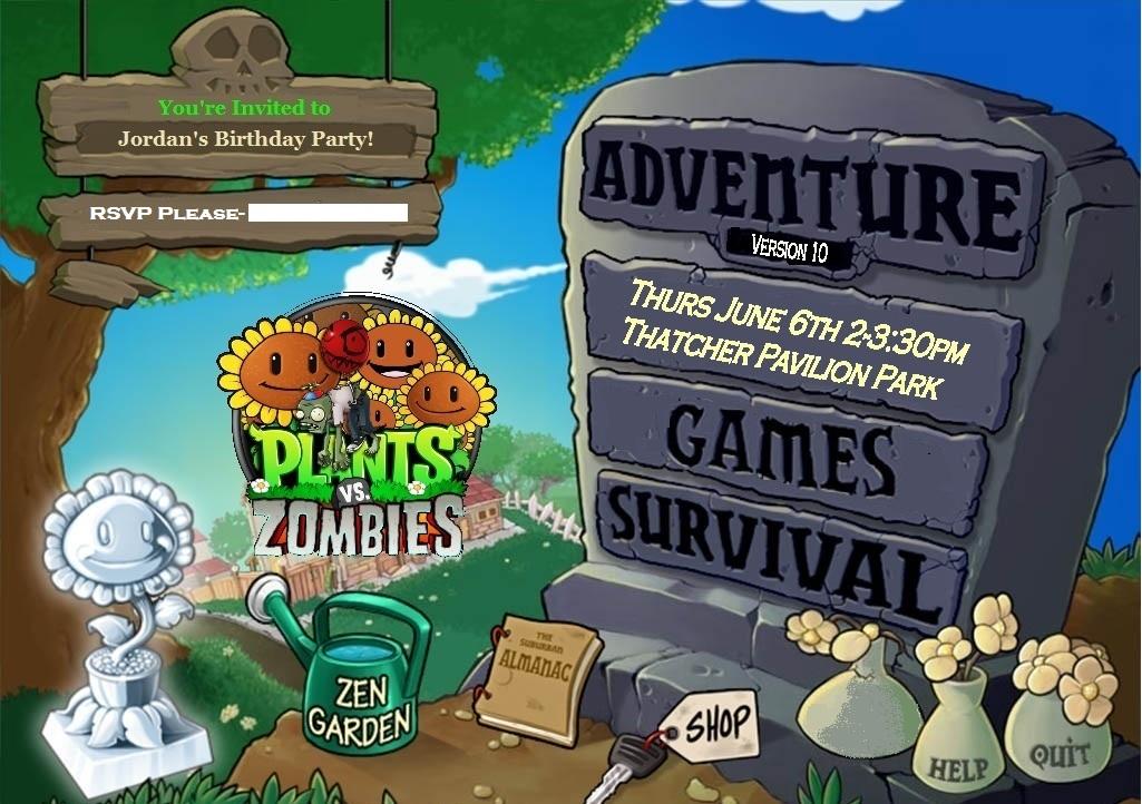 Plants Vs Zombies Birthday Party Invitations
