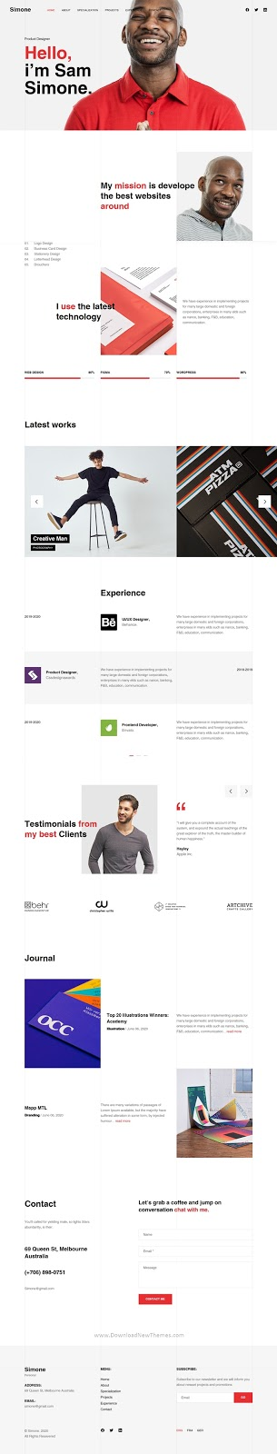 Download Onepage Personal CV/Resume HTML Template