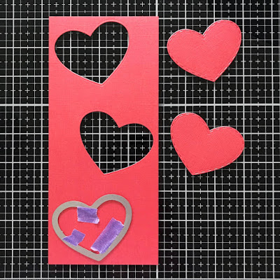 Heart cutouts for Slimline card by June Guest Designer Amy Tollner | Darling Hearts Die Set by Newton's Nook Designs #newtonsnook #handmade