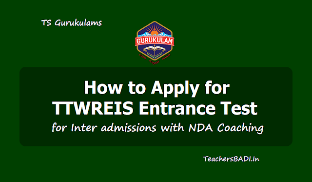 How to apply for TTWREIS Entrance Test for Inter admissions with NDA Coaching 2019