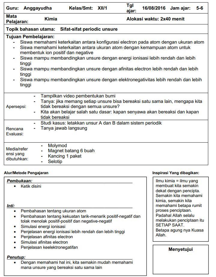 Empat 4 Contoh Format Rpp Satu 1 Lembar Zuhri Indonesia