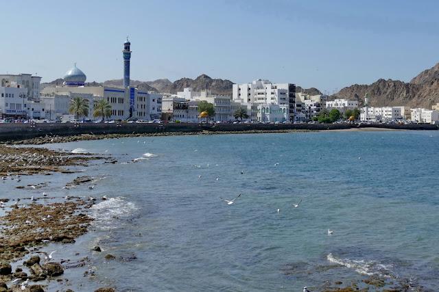 weitsicht, Corniche, Mutrah, Muscat, Oman, Moschee, Meer, Häuser
