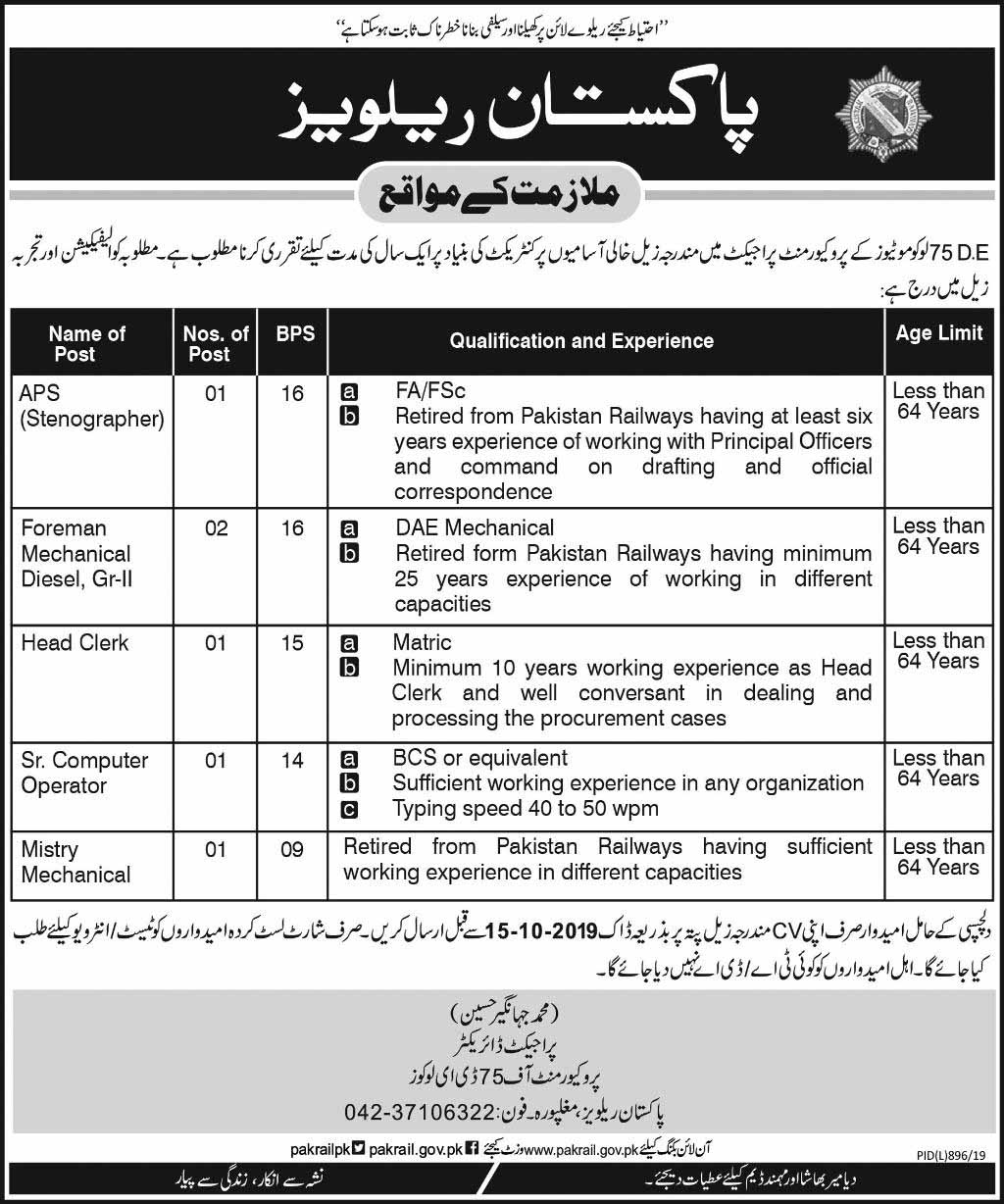 Jobs in Pakistan Railways October 2019