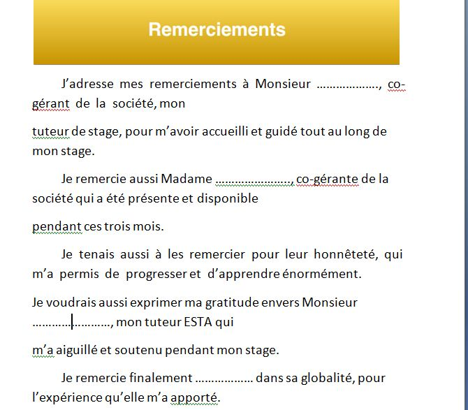 un rapport de stage pdf