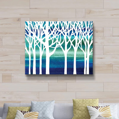 White Blue Teal Forest canvas painting watercolor by Irina Sztukowski