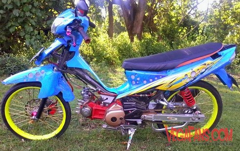 Modifikasi Vega ZR Biru Airbrush